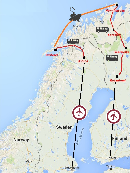 DN NORWAY SWEDEN FINLAND Northern Light Hunt BEST - Norway map northern lights